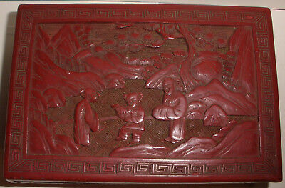 Antique 19thc Hand Carved Chinese Cinnabar & Lacquer Box with people scene
