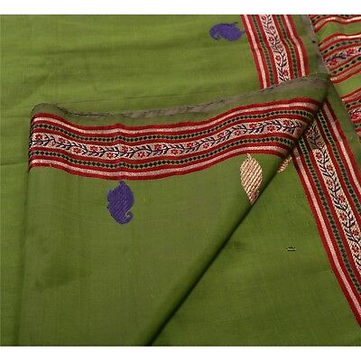 Sanskriti Antique Vintage Indian Saree 100% Pure Silk Woven Green