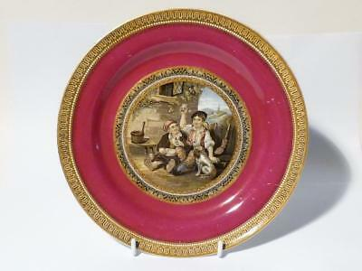 Antique 19thC  The Queen God Bless Her (269) Burgundy Prattware Dinner Plate