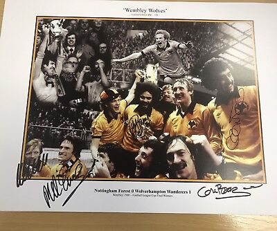 Wolves 1980 LCF Limited Edition 'Wembley Wolves' Hand Signed Print X 5