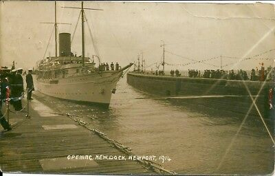 Opening Of The New Dock At Newport 1914 Photographic Postcard.