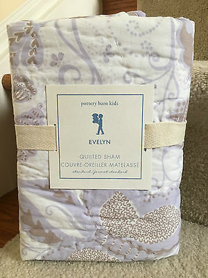 Nip Pottery Barn Kids Evelyn Butterfly Purple Quilted Standard Sham 20 X 26 Inch