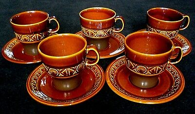 BESWICK ZORBA Mission Brown Cup + Saucer X 5 - Graham Tongue
