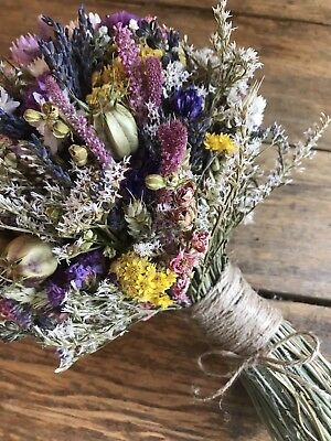 Dried Flower Wedding Bouquet Bride Bridesmaid Daisy Rustic Wheat Lavender