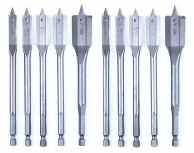 """10pc Spade Drill Bit Set Quick Release Paddle Woodworking 3/8"""" to 7/8"""" FREE SHIP"""