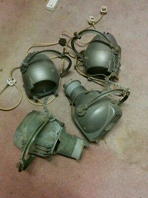 2 PAIRS OF VINTAGE STRAND STAGE  SPOT THEATRE LIGHTS -untested