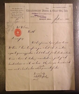 1893 Letter  Melincourt Brick Co. Neport Monmouthshire to W. Jones Neath