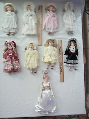 "Manorville Collections Princess Diana Doll 10"" PLUS 8 PORCELAIN DOLLS"