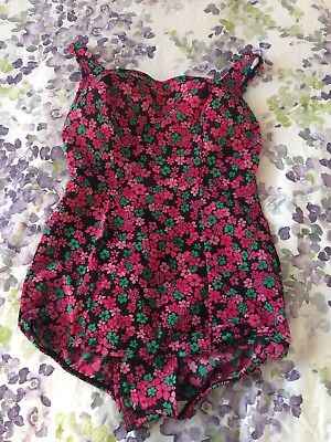 Vintage 60s St Michael Floral Swimming Costume 14 16 Bathing Suit Mod Retro