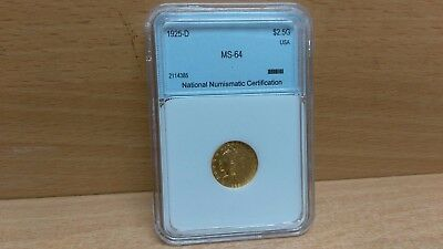 1925 D $2.5 Gold Coin Indian Eagle Graded USA