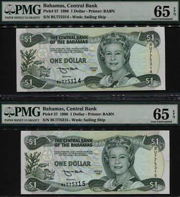 "Tt Pk 57 1996 Bahamas $1 ""queen Elizabeth Ii"" Pmg 65 Epq Sequential Set Of Two!"