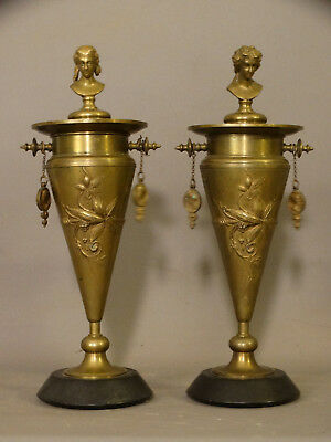 (2) 19thC Antique BRONZE Figural AESTHETIC PERIOD Floral LADY BUST Garniture URN