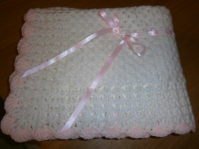 "Brand New. Handmade. 40""x40"".baby Shawl With Baby Pink Trim. Lovely Keepsake"