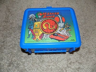 Vintage Masked Rider Blue Plastic Lunch Box No Thermos