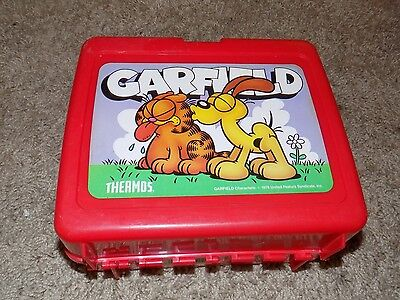 Vintage Garfield Red Plastic Lunch Box No Thermos