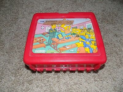 Vintage Plastic Lunch box With Thermos The Simpsons Red