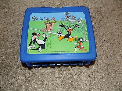 Vintage Looney Tunes Blue Plastic Lunch Box No Thermos