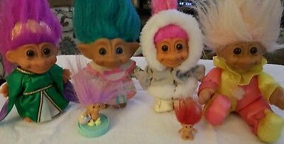 Vintage Lot Of  Russ and Ace Troll Dolls Various Sizes