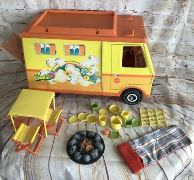 Vintage 1970's Barbie Country Living Camper W/Camping Accessories L@@K!