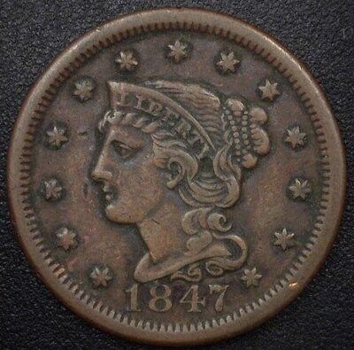 1847 Braided Hair Large Cent  Xf