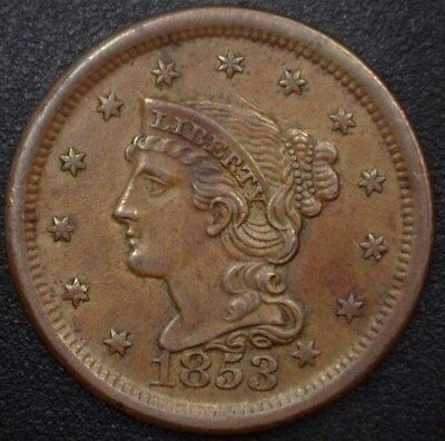 1853 Braided Hair Large Cent  Unc