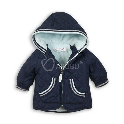 Baby Toddler Boys Navy Quilted Hooded Coat Jacket by Babaluno (12-24 Months)