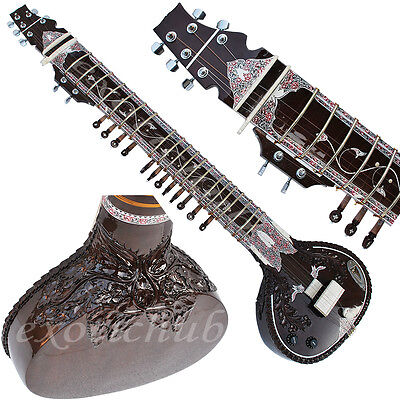 Sitar~Ravi Shankar Style~Tun Wood~Yoga~Meditaion~Mizrab~String~Hand Made Indian