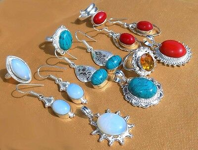 Indian Style 10 Pcs Wholesale Lot 925 Sterling Silver Overlay Mix Lot