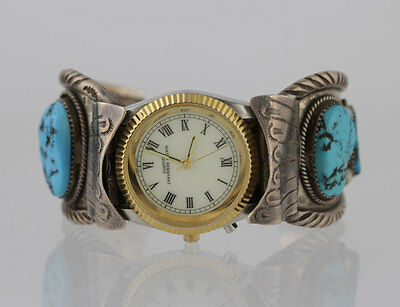 Native American Indian Sterling Silver Turquoise Heavy Cuff Bracelet Watch