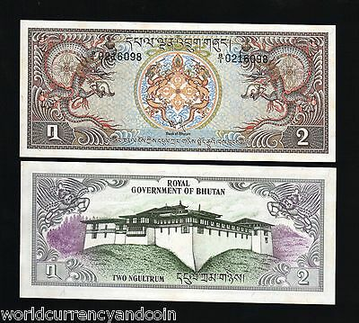 Bhutan 2 Ngultrum P6 1981 Dragon Unc Palace Large Currency Money Bill Note 10 Pc