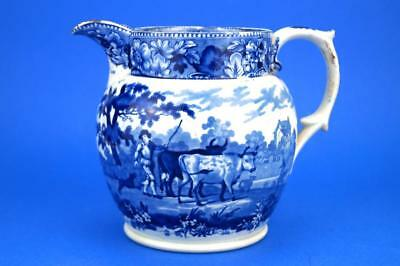 RARE Antique Cambrian Swansea DILLWYN & Co POTTERY Large Jug Blue & White DROVER