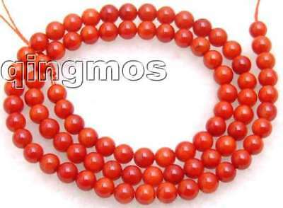 """SALE Tiny 3-4mm Round high quality red natural Coral beads strand 15""""-los206"""
