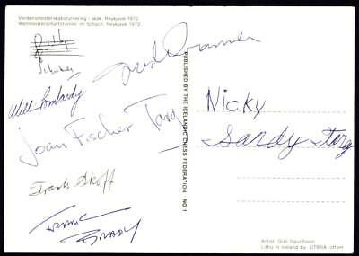 Terrific MULTIPLE AUTOGRAPH PIECE Iceland 1972 Chess Championships Ch003