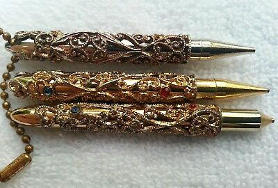 OLD ANTIQUE GEMSTONES 1920s Ornate Small Ladies Pen & and Mechanical Pencil Set