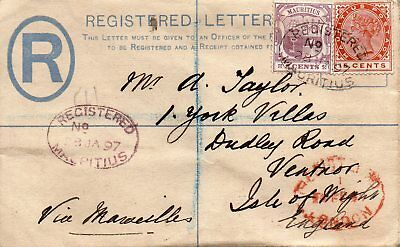 Mauritius 1897 Registered Envelope To Ventnor Isle Of Wight