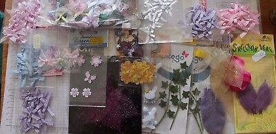Mixed Lot of Papercraft Embellishments- Ribbons Bows Flowers Leaves