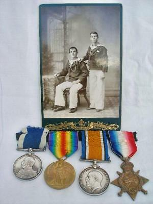 WWI Medal Medal Group To 176223 Sailmaker F.Fuller Royal Navy with Photograph.