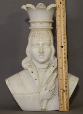 Antique CARVED King MARBLE CHESS PIECE Rook ALABASTER BUST Sculpture STATUE