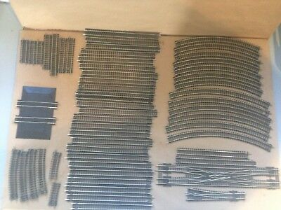 Job Lot of 50 N Gauge Peco ex-layout tracks including a double slip & setrack.