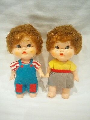 Vintage boy and girl pair doll posable dolly toy curly hair felt clothes Japan