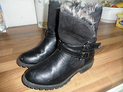girls leather black boots size 13