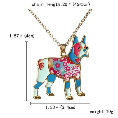 Boxer Dog Pendant Necklace Patchwork Colorful ANIMAL RESCUE DONATION