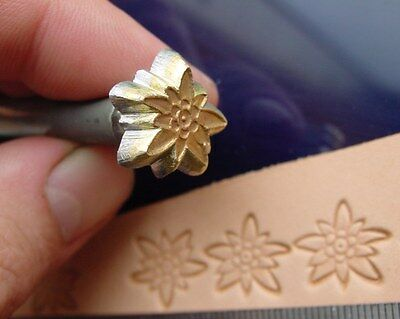 015-02 EDELWEISS mountain Flower Brass Stamp Leather Saddlery Tool Punch