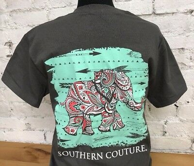 Southern Couture Paisley Elephant Arrows Girlie Bright T-Shirt - Short Sleeve