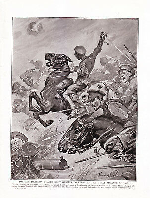 World War 1, Dashing Dragoon Guards Route German Infantry, 1916, Artist Signed