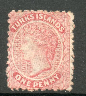 TURKS ISLANDS 1867 VICTORIA SG1 1d DULL ROSE NO WMK MOUNTED MINT
