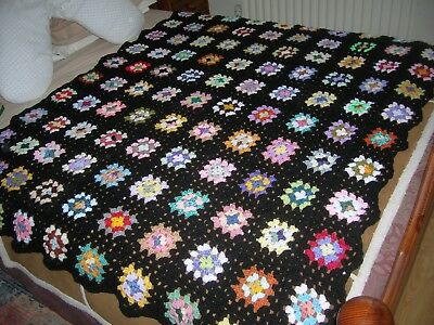 Large handmade Black and Multi Coloured Granny Square Crochet Blanket 132 x 170