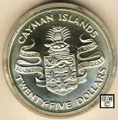 1974  25Dollars  Sterling Silver Coin Cayman Islands (OOAK)