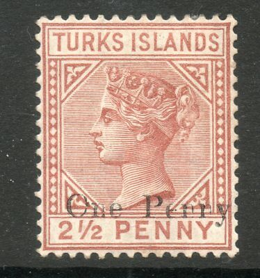 TURKS ISLANDS 1889 VICTORIA SG61 1d ON 2½d RED BROWN - MOUNTED MINT