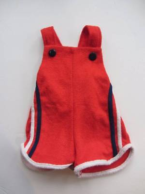 vintage baby romper towelling suit shorts dungarees red blue white age 6 months
